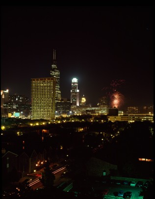 July 4 fireworks over University Hall, 1994.