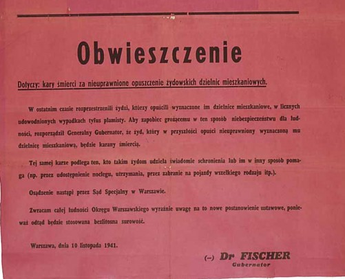 1941 poster announces penalty for Jews who left Warsaw ghetto