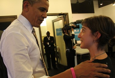 Political science student Emily Kosa meets President Barack Obama