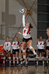 MaryKate Imrie spikes the volleyball