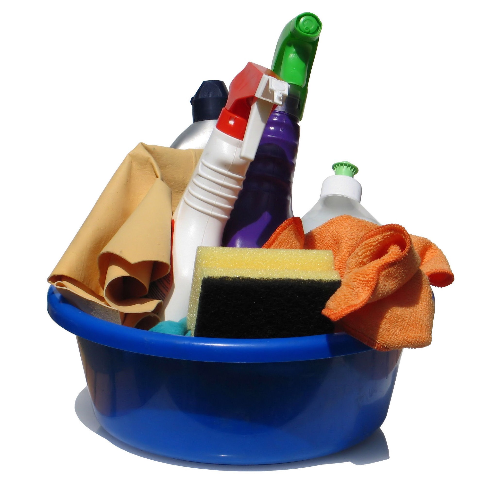 bucket of cleaning supplies