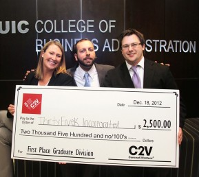 MBA students with first-place check for business plan competition.