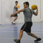 Students playing dodgeball