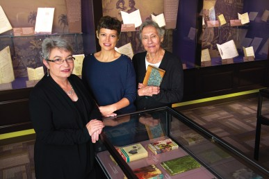 The exhibit came together through the work of (L-R) Peggy Glowacki, Valerie Ann Harris and Nancy Cirillo.
