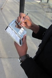 Person using a palm pilot