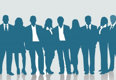 silhouettes of men and women in business attire
