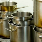 stacks of cooking pots