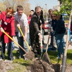 Students, staff and Arbor Day Foundation representatives shovel dirt around a new tree