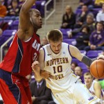 Josh Crittle blocks a Northern Iowa player