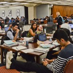 The fourth floor of the Daley Library is often the most crowded — it's a great place to work on homework and socialize, students say. Photo: Alex Rauch