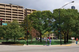 Rendering of the proposed changes to the Chicago Circle Memorial Grove