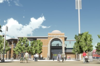 Architect's sketch, proposed Curtis Granderson Stadium