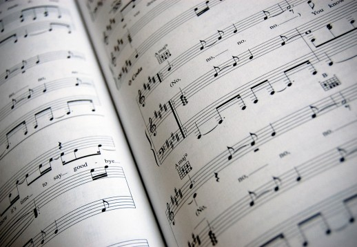 Open page of sheet music