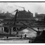 Historical photo of the Chicago River