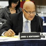 James Montgomery speaks at a Board of Trustees meeting