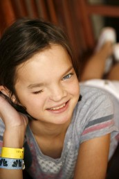 A young girl with anopthalmia.