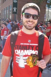 Blackhawks fan Matthew Palmer at parade