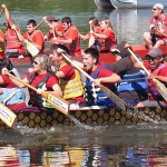 UIC's Dragon Boat Team in the water