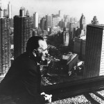 Richard J. Daley viewing the skyline in 1966 from atop the then-new Daley Center