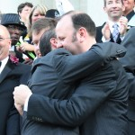 Same-sex couples and supporters celebrate
