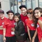 Chancellor Paula Allen-Meares with students at the welcome block party after convocation.