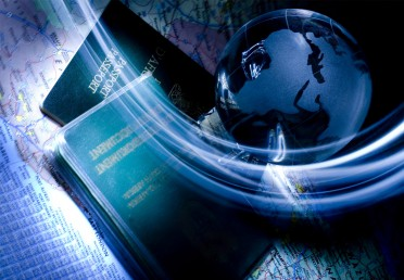 Illustration of travel with passports, globe, and atlas