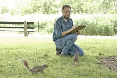 Steve Sullivan, Project Squirrel, studies gray squirrels in Lincoln Park.