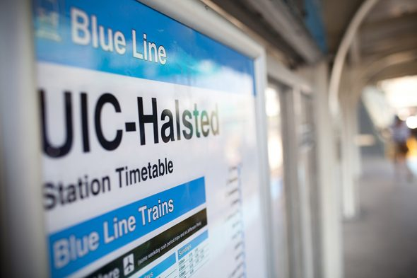 UIC-Halsted Blue Line station sign