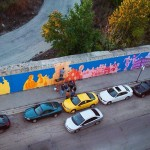 Aerial view of Morgan Streen Mural progress