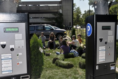Students turn a parking space into a park