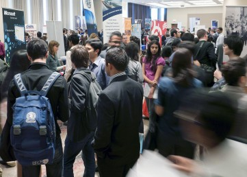 Students gathered at a UIC Career Fair