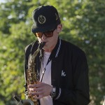GRiZ playing the saxophone