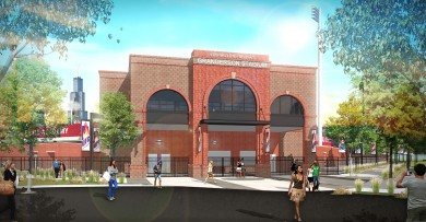 Rendering of Curtis Granderson Stadium entrance
