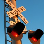 Railroad crossing sign and lights