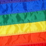 Flag with rainbow stripes
