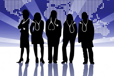 silhouettes of people wearing stethoscopes