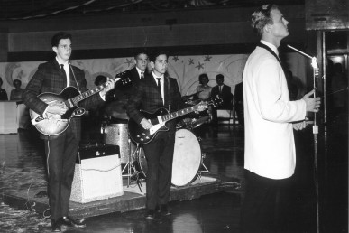 Bill Bielby, center, in his eighth-grade band, the Newports.