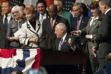 Governor Pat Quinn signs the Marriage Equality Bill