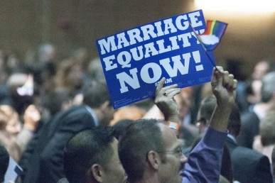 """Person holding a """"marriage equality now"""" sign in the crowd"""