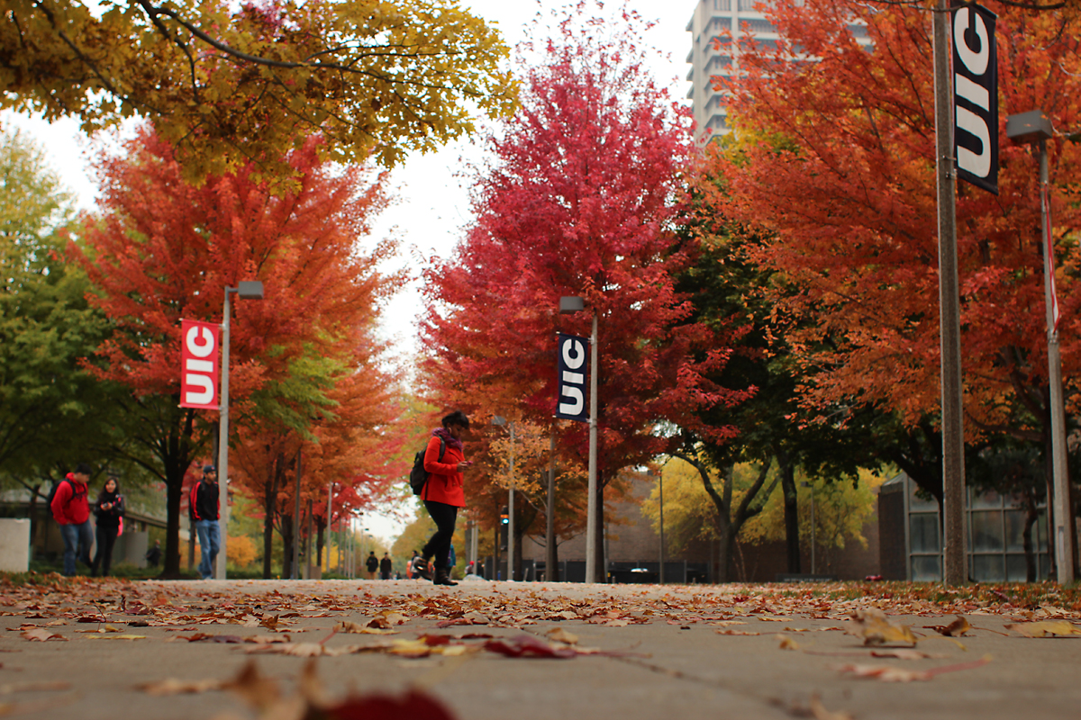 Fall foliage and students walking on campus