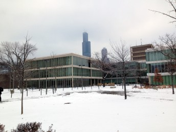 Lecture halls and Sears Tower in snow