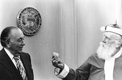 Chicago Mayor Richard J. Daley and Santa