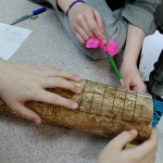 Students measure the damage to a tree trunk done by emerald ash borer.
