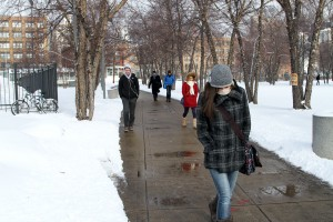 Students walk to campus