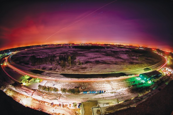 A night photo of Fermilab's Tevatron collider.