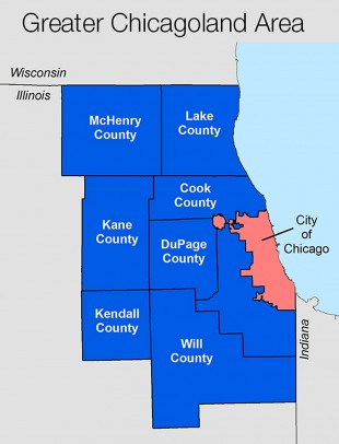 Map of counties in and around Chicago.