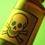 Bottle with skull and crossbones label