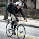 Zachary Bannor riding his bicycle