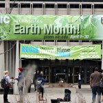 Earth Month banner displayed in the quad