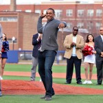 Curtis Granderson throws out the first pitch at the opening of Granderson Stadium